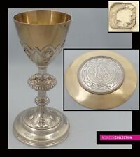 ANTIQUE 1880s FRENCH FULL STERLING SILVER & VERMEIL CATHOLIC CHALICE & PATEN