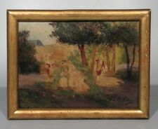 Old French Oil Painting, 18th c. Courting Scene, Garden, Chateau, after A. Perez
