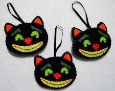 SET OF 3 HAND~CRAFTED FREAKY FELT CAT HALLOWEEN TREE ORNAMENTS~NEW