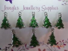 8 Quality Tibetan Silver Metal Green Enamel Tree Charm Christmas Charms Crafts