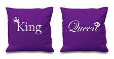 Purple King And Queen Crown Cushion Covers Couples Present Bedroom Valentines