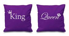 Púrpura rey y reina Corona Cushion Covers parejas presentes Dormitorio Día De San Valentín