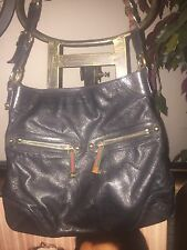 Gucci Black Leather Hobo Handbag Gold Chain Strap Red & Green Stripe Bag