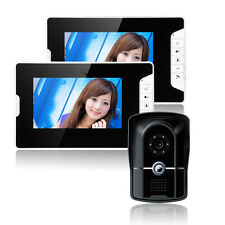"""7.0"""" LCD Monitor Wired Video Intercom Door Phone System Doorbell With 2 Monitors"""