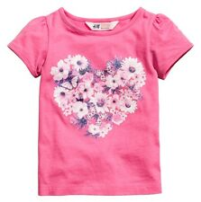 H&M H M Girls Shirt Top Floral Butterfly Heart Pink Size 18-24 Months New