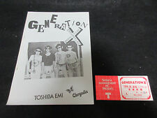Generation X Japan Promo Press Release w Concert Ticket Stub Punk Billy Idol