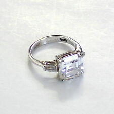 A 10mm Asscher Cut CZ With Baquettes 925 Sterling Silver Ring Size 6.5