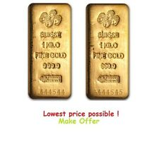 2 Kilo ( PAIR ) Pamp Suisse Gold Bar .9999 Fine - AVAILABLE to ship !
