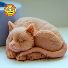 Cat 2 3D soap mold Food-grade silicone cat mold animals mold Free shipping