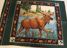 Moose Pillow Fabric Square Cattails