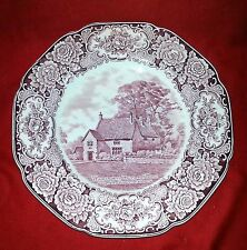 """Royal Ducal Colonial Times Pink 10 1/2"""" Dinner Plate - Washington Ancestral Home"""