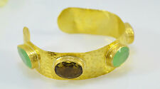 Ottoman GOLD Cuff Bracelet Bangle Semi Precious Gemstone Chalcedony Smoky Quartz