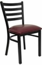 NEW METAL DESIGNER RESTAURANT CHAIRS W BURGUNDY VINYL SEAT** LOT OF 10 CHAIRS***