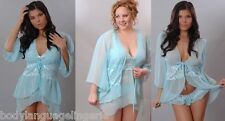 2x/3x blue FITTED SHEER ROBE LINGERIE PLUS SIZE 2x/3x