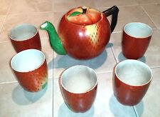 Vintage Maruhon Ware - Circle-K - Hand-Painted Japan - Peach Tea Set