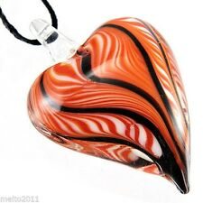 Fshion Heart shaped stripe Lampwork Murano Art Glass Pendant Necklace