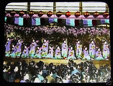 MAGIC LANTERN SLIDE CHERRY DANCE AT KYOTO C1920 JAPANESE TAKAGI JAPAN