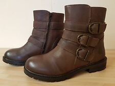 Hush Puppies Jane Klain Brown Real Leather Ankle Boots Size 4 37