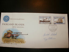 SIGNED FDC FALKLAND ISLES COMMENWEALTH GAMES 1982-SIGNED BY 2 RIFLE SHOOTERS