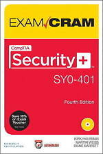 CompTIA Security+ SY0-401 Exam Cram Diane Barrett Martin Weiss Unread Book + CD