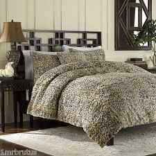 3-Pc Luxury Faux Fur Leopard Full-Queen Duvet Cover Set Animal Print Cheetah Tan