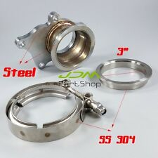 "T3 T3/T4 5 Bolt SS Turbo Downpipe Flange To 3"" V-Band Conversion Adaptor Kit Set"