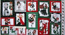 """Fairy Merry Christmas Fabric - Loralie Red Green - Quilting Treasures 23"""" Panel"""