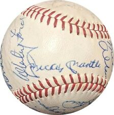 Mickey Mantle Joe DiMaggio & 24 All Star Old Timers Signed Cronin Baseball PSA