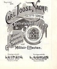 Carl loose/Otto töpfer Leipzig militair-uniformes historiques publicitaires de 1911