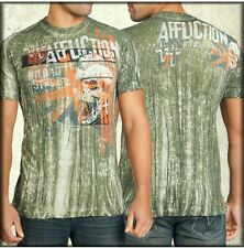 Affliction Shirt LARGE New Military Green Wash Stort Sleeve UFC MMA MSRP $58.50
