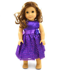 Handmade new purple clothes dress for 18inch American girl doll party b89