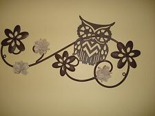 CUTE OWL BIRD TREE METAL SIGN fall wall art animal brown flowers stencil style
