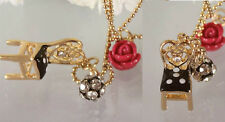 N479 Betsey Johnson Alice in the Wonderland Tea Party Chair Rose Necklace  US