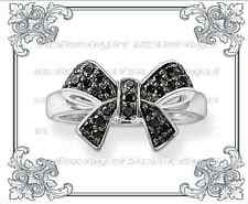 Genuine NEW THOMAS SABO Black Cubic Zirconia Adorned Bow Ring Au Ship