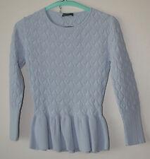 Wonderful Alexander McQueen Light Blue Sweater w Bottom Flounce