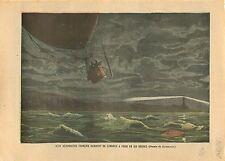 Balloon Montgolfière Aéronautes London Channel Londres Paris 1905 ILLUSTRATION