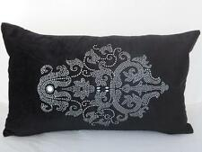 Black Velvet  'Marseille' Diamante Oblong Rectangle Cushion Cover 30x50cm