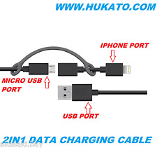 Original Hukato 2in1 Micro Usb 8 pin Lightning Data Charging Cable For HTC APPLE