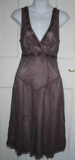 TED BAKER Brown Silk/Polyester Formal/Party Sleeveless Dress Size-1 UK-8/36