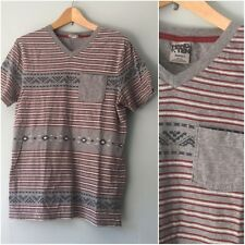 Hang Ten Aztec Southwest Tribal V-Neck Cotton Gray Red Tee Shirt Mens Size Small