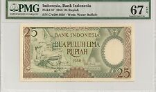 P-57 1958 25 Rupiah, Bank of Indonesia, PMG 67EPQ Finest Known