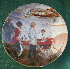 VINTAGE CROWN STAFFORDSHIRE BONE CHINA RENIOR PLAQUE OARSMEN AT CHATOU PLATE