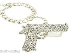 Hip Hop Urban 3 Finger Silver & Crystal Bling Pistol Gun Ring w/ Bracelet Leash
