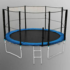 14FT Trampoline With Safety Net Enclosure Ladder Rain Cover Outdoor Activity