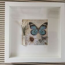 HANDMADE 3D BUTTERFLY FLOWERS  PICTURE  box frame 25x25cm wall hanging