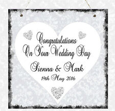 Personalised Wedding Heart Message Plaque Congratulations Wedding Gift Sign