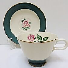 Vintage Lifetime China Co, CAMEO Teacup & Saucer Jade Green/White, Pink Rose