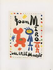 "1989 VINTAGE ""JOAN MIRO"" GALERIE MAEGHT MOURLOT MINI POSTER COLOR Lithograph"