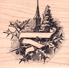 New MAGENTA RUBBER STAMP Festive Christmas Label Church Free USA ship winter