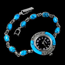 Sterling Silver 925 GenuineCabochon Turquoise and Marcasite Watch 7.5 Inch #2